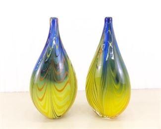 "2 Hand Blown 14.5"" Art Glass Vases"