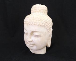 "Heavy Stone Carved 7"" Buddha Head"