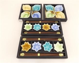 New in Box 8 Person Asian Themed Serving Sets