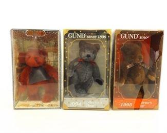1992, 1994, and 1995 Gund Bears