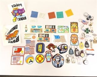 Lot of Vintage Patches, Keychains, Stickers, Iron On's, etc.
