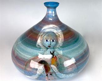Polia Pillin Bulbous Squat Vase with Two Women