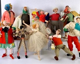 Group of 10 Attributed Klumpe Caricature Dolls