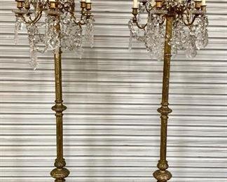 Pair of Gilt Bronze 9 Light Crystal Torcheres