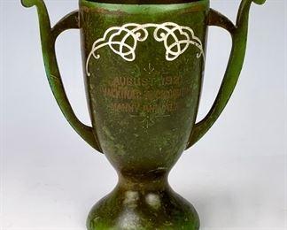 Heintz Sterling on Bronze Trophy Vase Green Patina