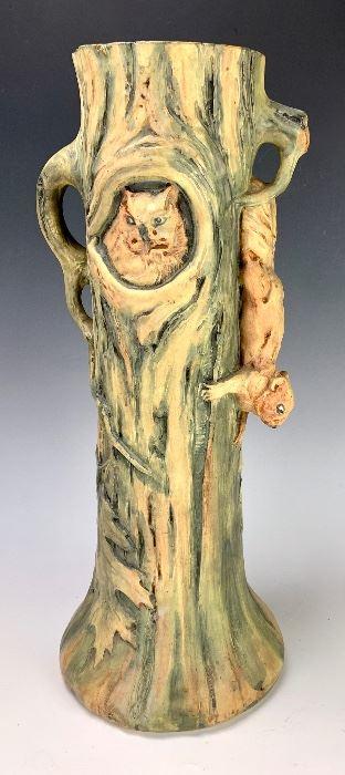 """Weller Woodcraft Vase w/ Owl & Squirrel 17.5"""""""