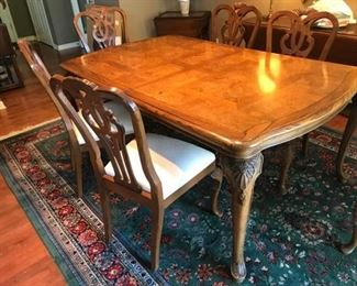 Burl Finished Table with Carved Legs