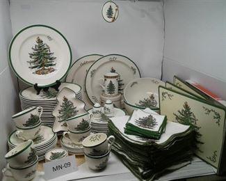 Huge Christmas Spode Dish Set