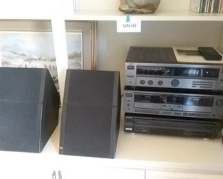 JVC Synthesizer, Receiver, and Double Cassette Deck with Technics FiveDisc CD Changer