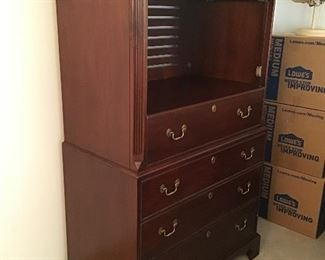 "2. $220 NOW Tall chest by White Furniture  37""W x 20""D  x 67""H    $295"
