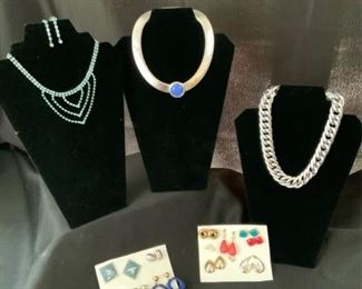 Silver Necklaces and Stud Earrings