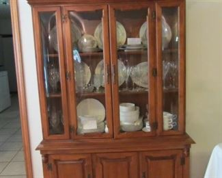 Tell City China Cabinet with bowed glass!