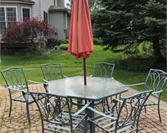 Lot 11 Patio Set with 6 Chairs and Cushions
