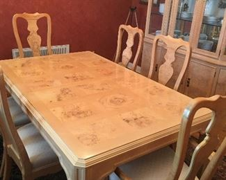 Rare, rare find- beautiful olive wood table, hutch, and buffet. Heritage, Corinthian, by Drexel. The curve of these chairs is amazingly comfortable on your back and great for your posture. In all our years of estate sales, we have never seen such a beautiful, comfortable, quality set.
