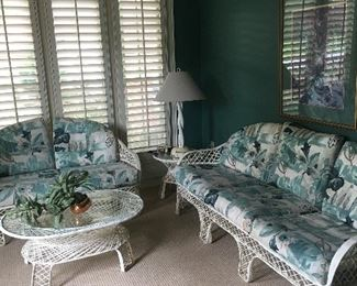 Many pieces of vintage mid-century modern Russell Woodard spun fiberglass patio furniture. They have always been inside and are in great condition.