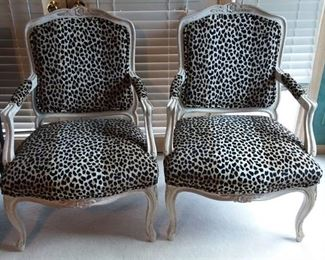 Pair of White Wood and Leopard Upholstered Sitting Chairs