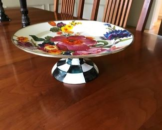 MacKenzie Childs enamel pedestal cake plate
