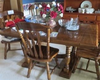 "Pine Table 5'4"" x 3'6"", 2-10"" leaves, & 5 Chairs"