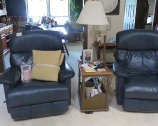 Blue Leather Recliners, End Table with Lamp