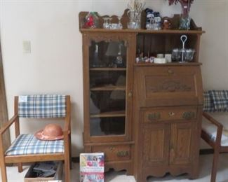 Antique Oak Desk and Cabinet, Chairs