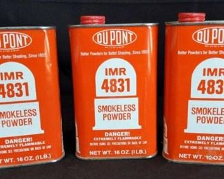 DuPont 4831 Smokeless Powder	 3 cans of DuPont IMR 4831 Smokeless Powder. 16 oz. each. Feel full.