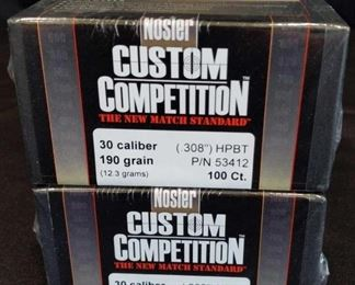 Nosler 30 Caliber bullets	 Two new boxes of Nosler Custom Competition 30 Caliber Bullets. 190 Grain 308 HPBT 100 per box for a total of 200 Bullets