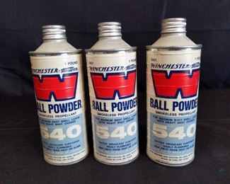 Winchester Ball powder 540	 Three 1 pound cans of Winchester Western Ball Powder 540 For Magnum Shot shell Loads with Heavy shot charge. Cans feel full