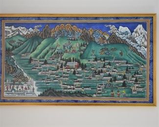 Second of two paintings by renowned Pasang Norbu Sherpa. Condition: good. Frame: 14H x 24W. Price: $95.