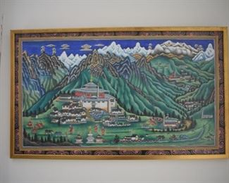 First of two paintings by renowned Pasang Norbu Sherpa. Condition: good. Frame: 14H x 24W. Price: $95.