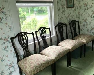 4 dining chairs. Condition: Good. 34.5H x 21W x 17.5D.  Price: $40.