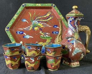 8 Piece Set Asian Cloisonne Tea Service