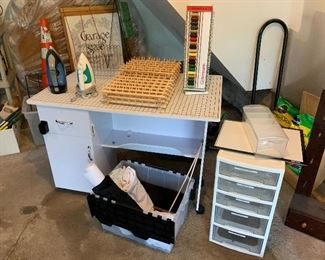Sewing table quilting table storage drawer unit spool racks Rowenta Irons.           Gutterman Thread storage and organizer drawers are  (SOLD)