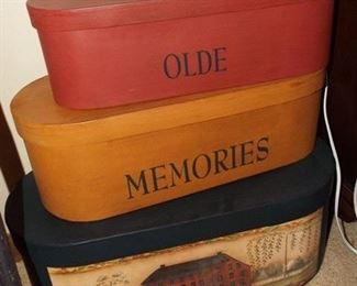36.  SET 3 OVAL PAINTED STACK BOXES   $25.00