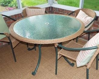 "1.  48"" Wicker Edge Glass Top Table-4 Chairs      $225.00"