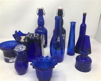 Cobalt Blue Glass Lot Two