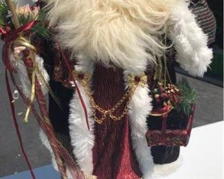 Three Foot Tall Burgundy Patchwork Santa