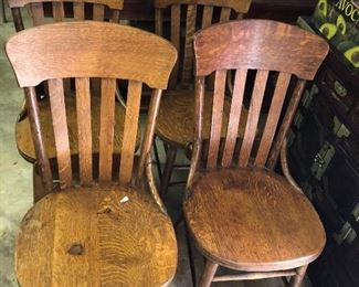 Antique oak pew chairs