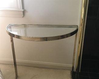 "Item #1:  Side half-moon brass table:  23""Lx22""H: $20"