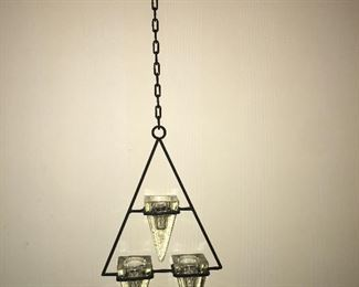 NEW ITEM:  Item No. 144:  triangle glass and wrought iron candle holder.  Holds tealights  $15
