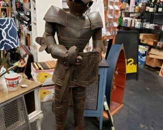 "63"" Knight in armor on stand (has some rust) $295"