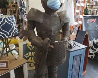 "63"" Knight in armor on stand (has some rust) $295 Even he wears a mask"