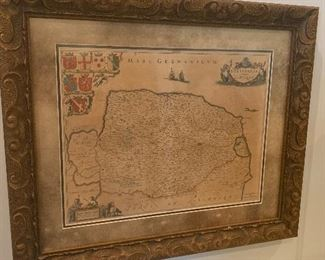 Beautiful Antique English Framed Map with Authenticity Papers.