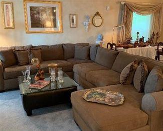 Beautiful tan sectional sofa