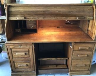 Lighted Oak Rolltop Desk.