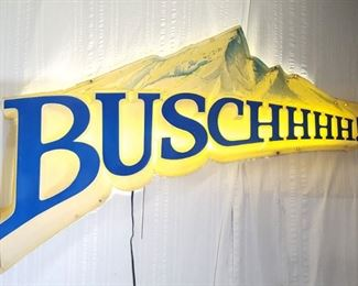 Advertising Lit Busch Beer Sign