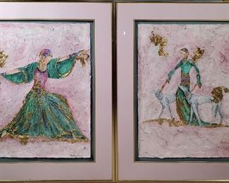 "Christian Alan Mixed Media Art Deco Dancer & Woman with Dog Paintings	- mixed media raised impasto figures in soft colors with gold leaf accents - 30""x22"" paper, floating mount in double mat 40""x32"" frames"