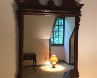 $100 - Large Cherry Wood Wall Mirror; 22x39