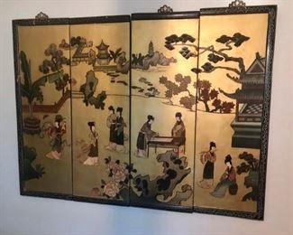 $225 - Large Asian 4 Panel Wall Hanging; 49x36