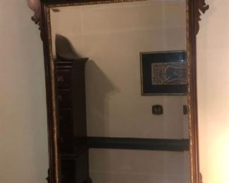 $250 - Large Mahogany Wood Wall Mirror with Gold Accents; 29x45