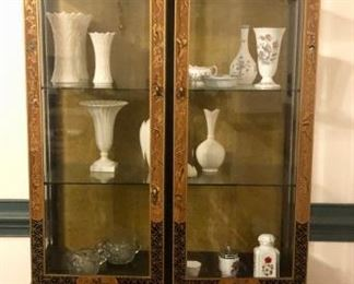$500 - Drexel Chinoiserie Black Laquer Fruitwood China Cabinet; 35x14.5x80.5